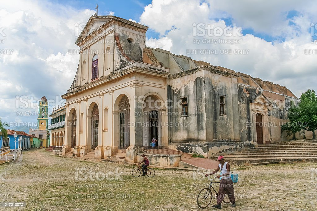 Church of the Holy Trinity in the center of Trinidad stock photo