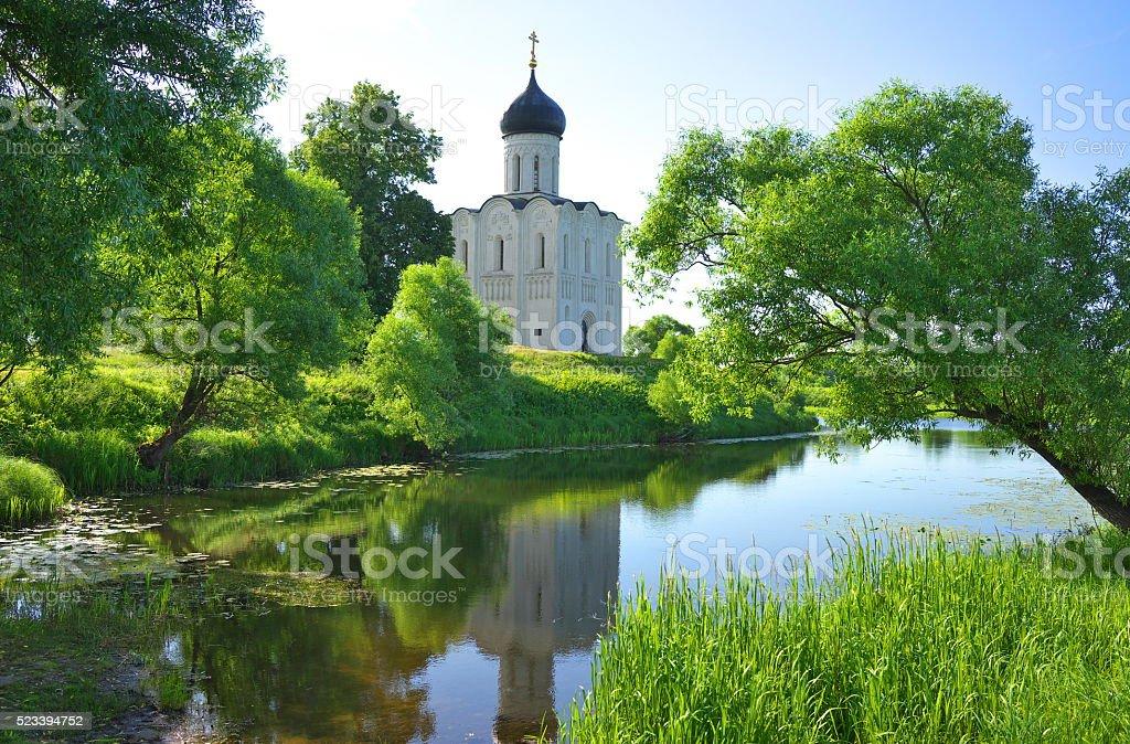 Church of the Intercession in Bogolyubovo. stock photo