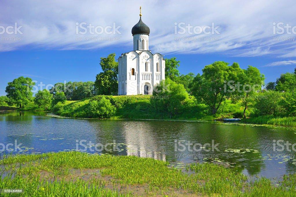 Church of the Intercession in Bogolyubovo stock photo