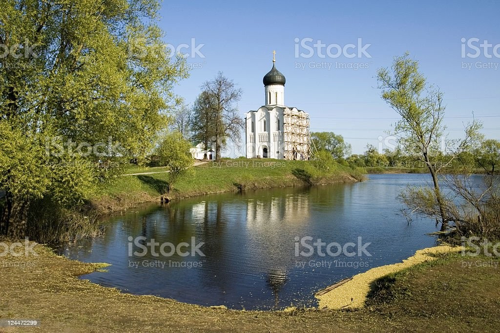 Church of the Intercession on Nerl River Golden Ring Russia stock photo