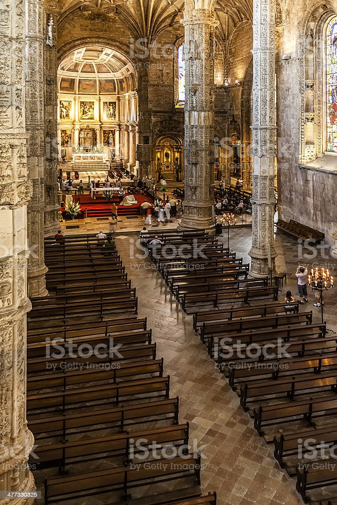 Church of the Jeronimos monastery in Lisbon stock photo