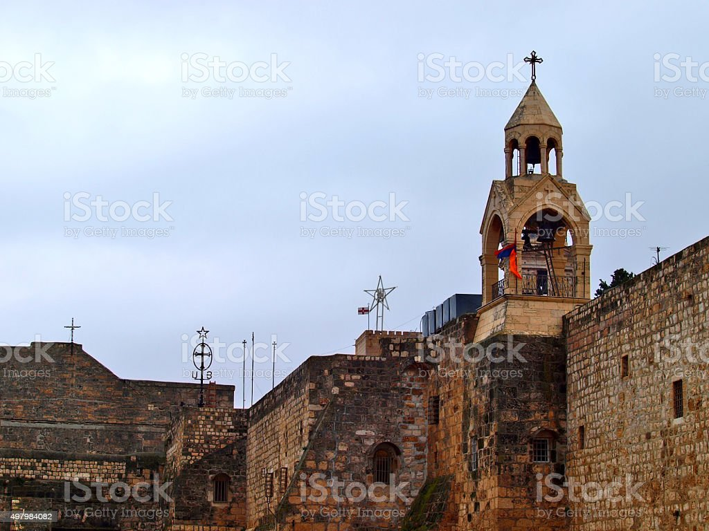 Church of the Nativity is a basilica located in Bethlehem stock photo