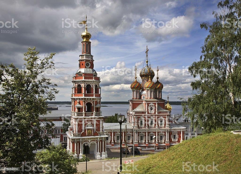 Church of the Nativity of Our Lady (Stroganov Church) in Nizhny Novgorod stock photo