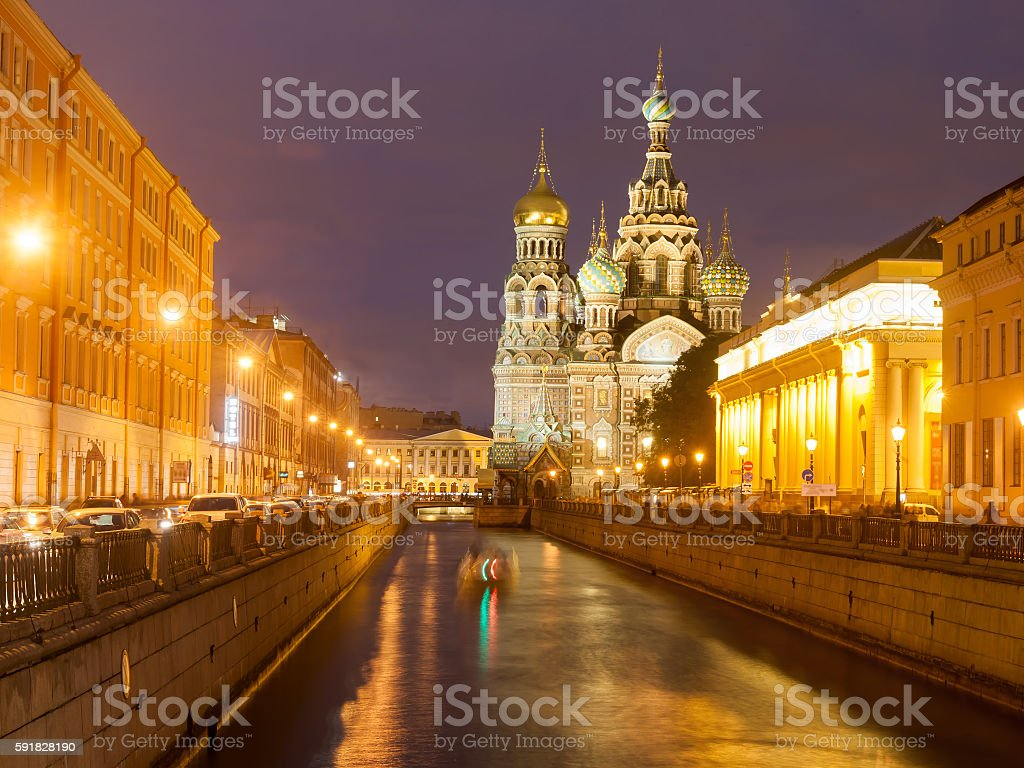 Church of the Resurrection Christ , St Petersburg, Russia at stock photo