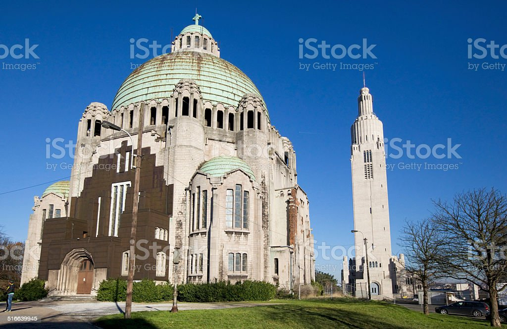 Church of the Sacred Heart in Liege stock photo