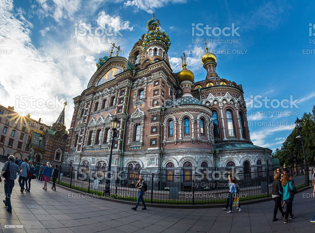 Church of the Savior on Blood against bright sun stock photo