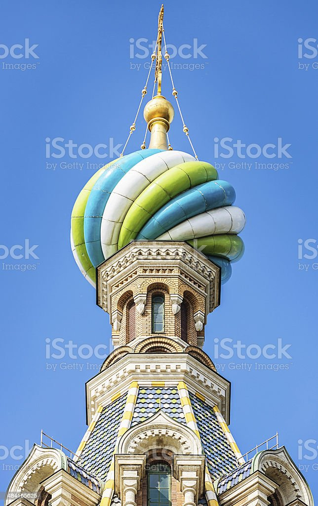 Church of the Savior on Spilled Blood Dome, St. Petersburg stock photo
