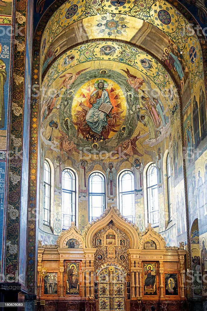 Church of the Savior on Spilled Blood, interior view royalty-free stock photo