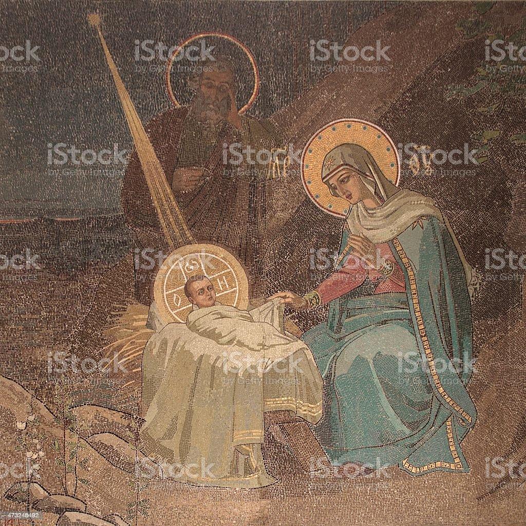 Church of the Savior on Spilled Blood Nativity Mosaic stock photo