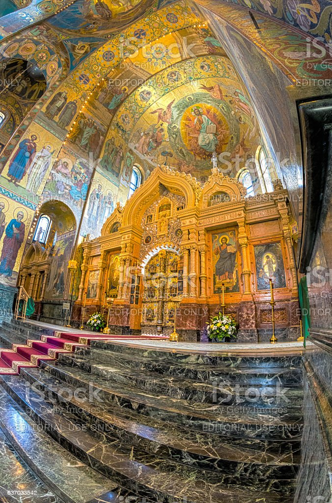 Church of the Savior on Spilled Blood. The central iconostasis stock photo