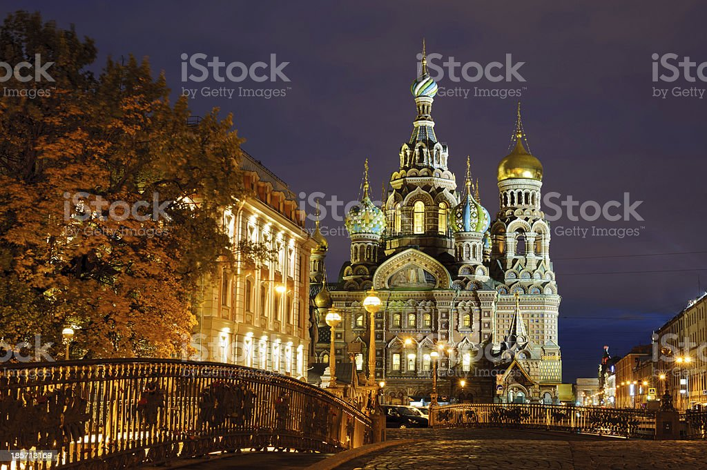 Church of the Saviour on Spilled Blood in evening stock photo