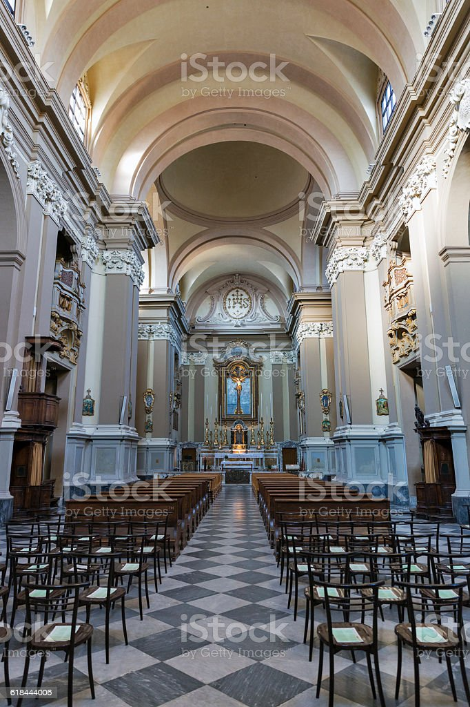 Church of the Suffragio interior in Rimini, Italy. stock photo