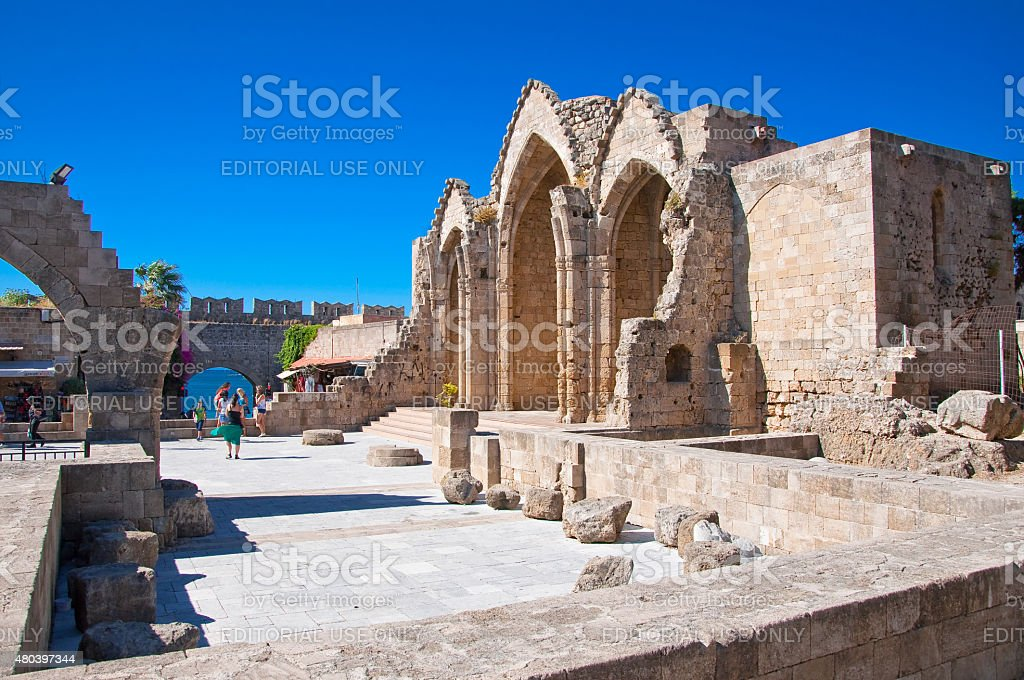 Church of the Virgin of the Burgh. Greece, Rhodes island. stock photo