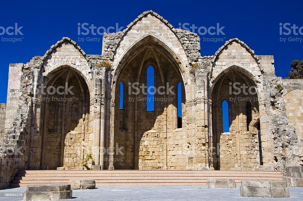 Church of the Virgin of the Burgh. Greece, Rhodes. stock photo