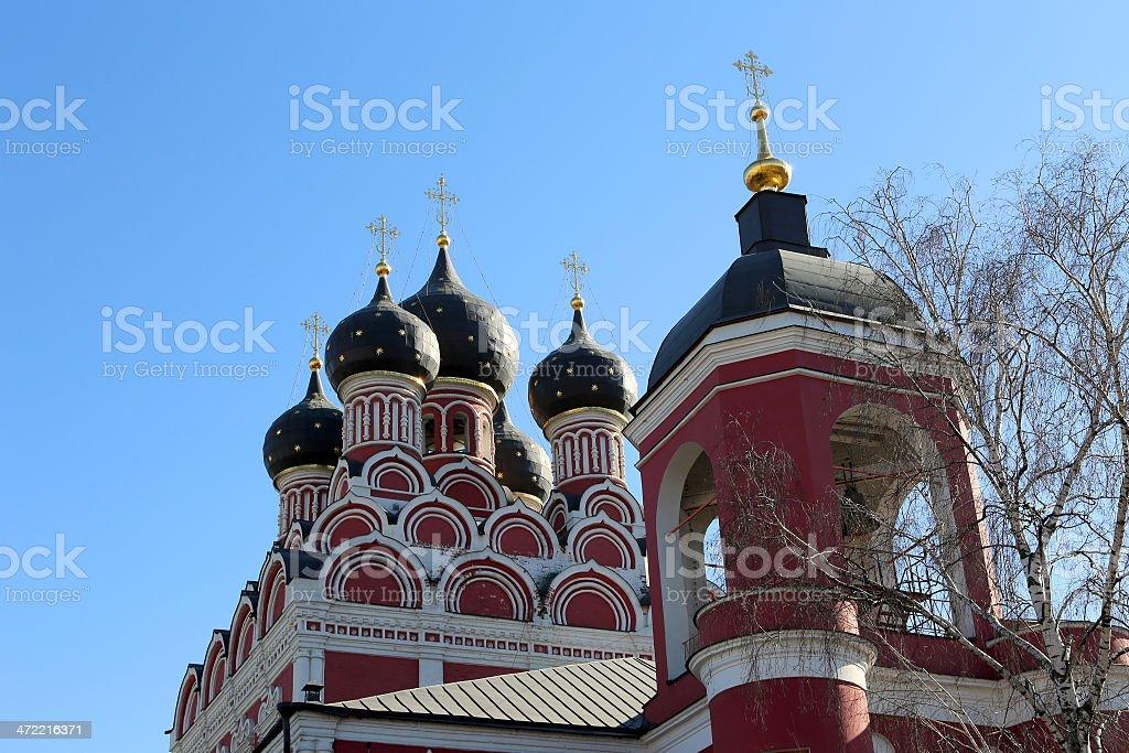 Church of Tikhvin icon of Theotokos, Moscow, Russia stock photo