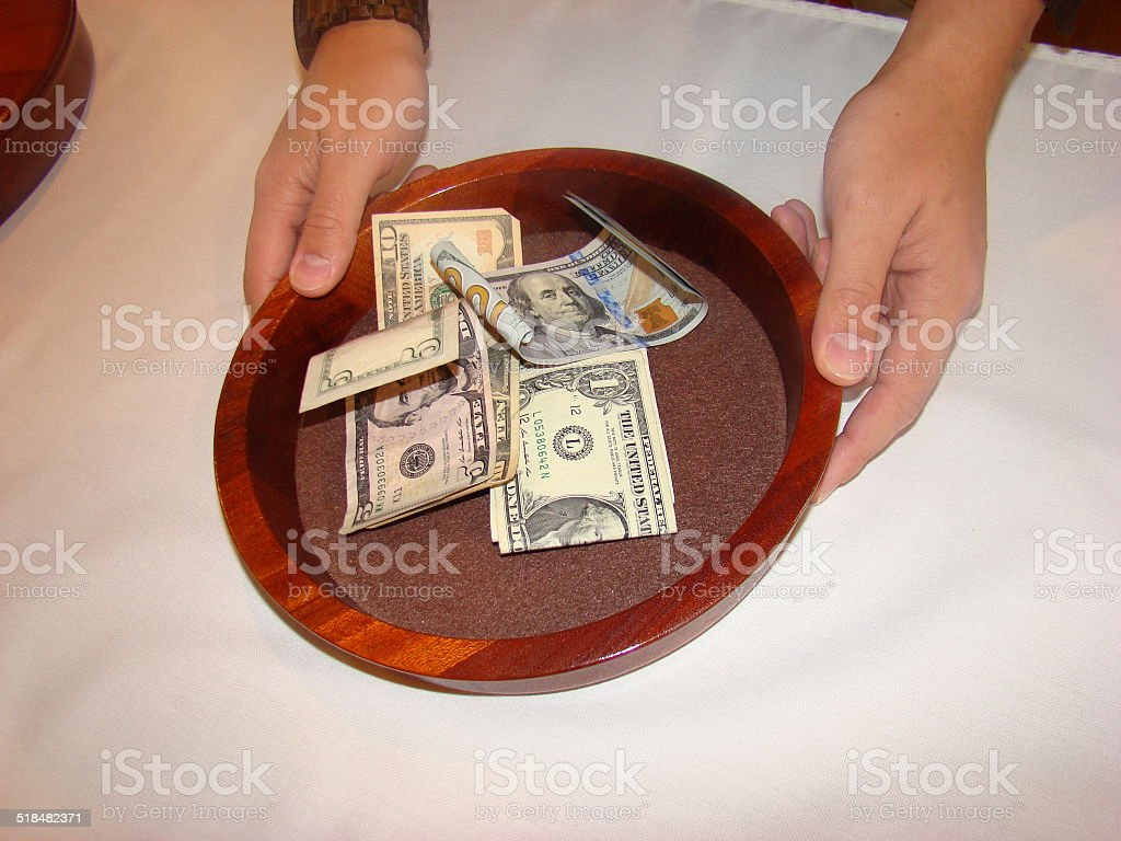 Church Offering Collection Plate stock photo
