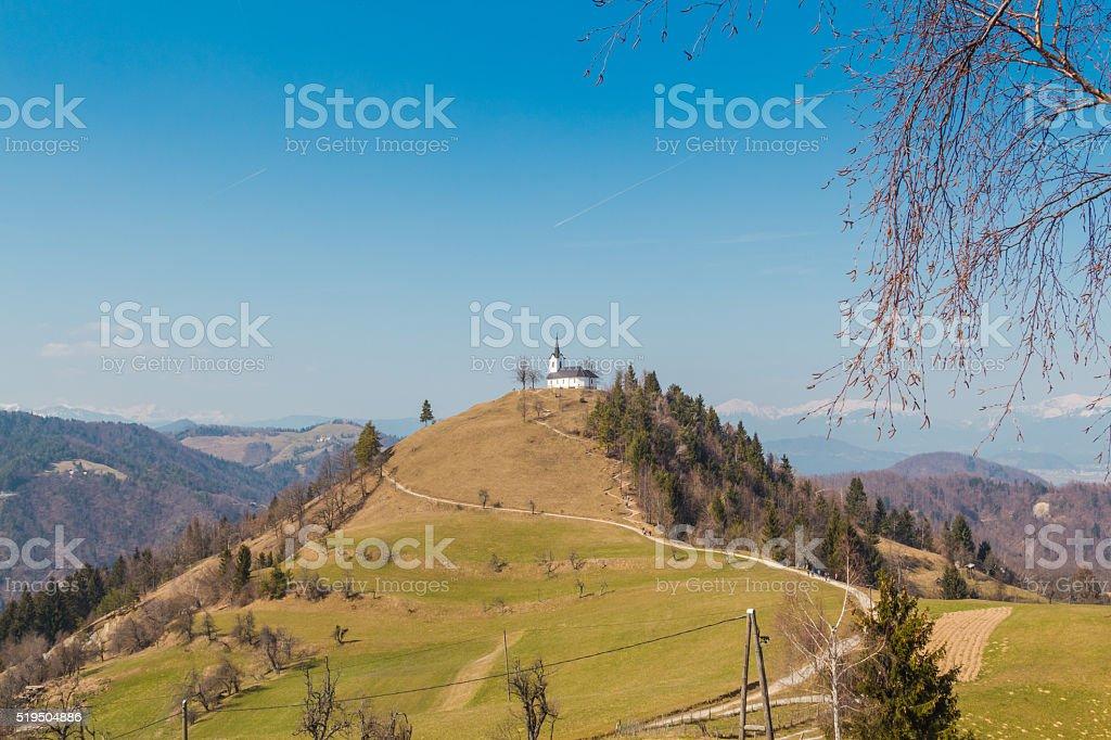 Church on a hill. stock photo