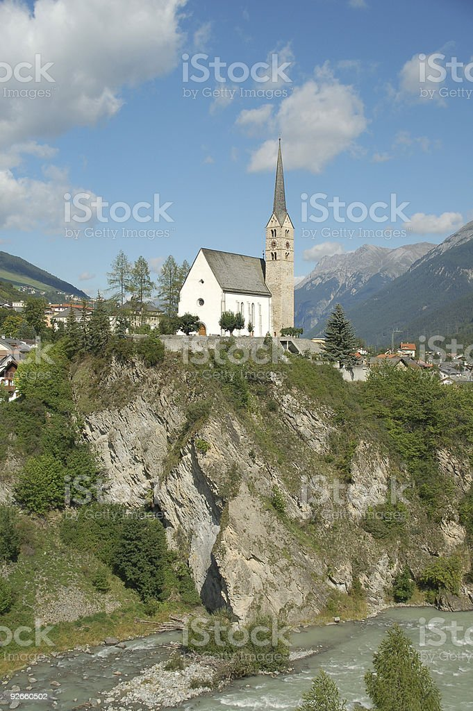 Church on a Rock above the Inn River royalty-free stock photo