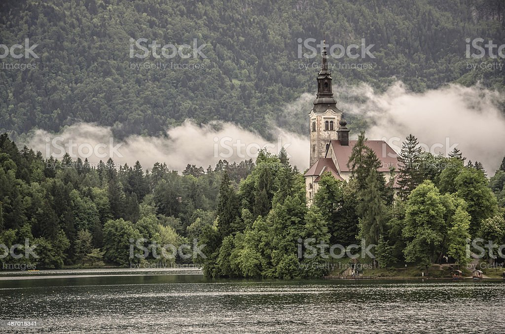Church on an Island in Lake Bled, Slovenia royalty-free stock photo