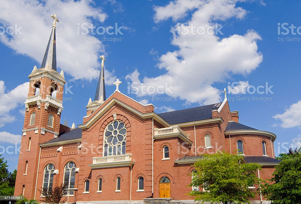 Church on college campus in Spokane, WA stock photo