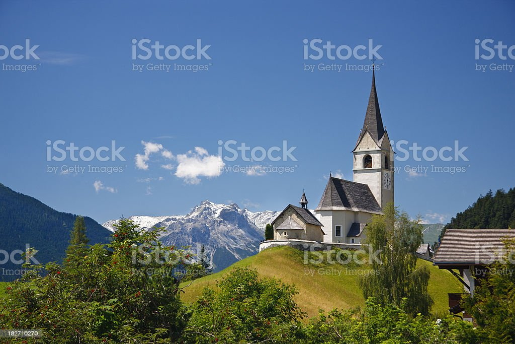 Church On Hill In The European Alps royalty-free stock photo