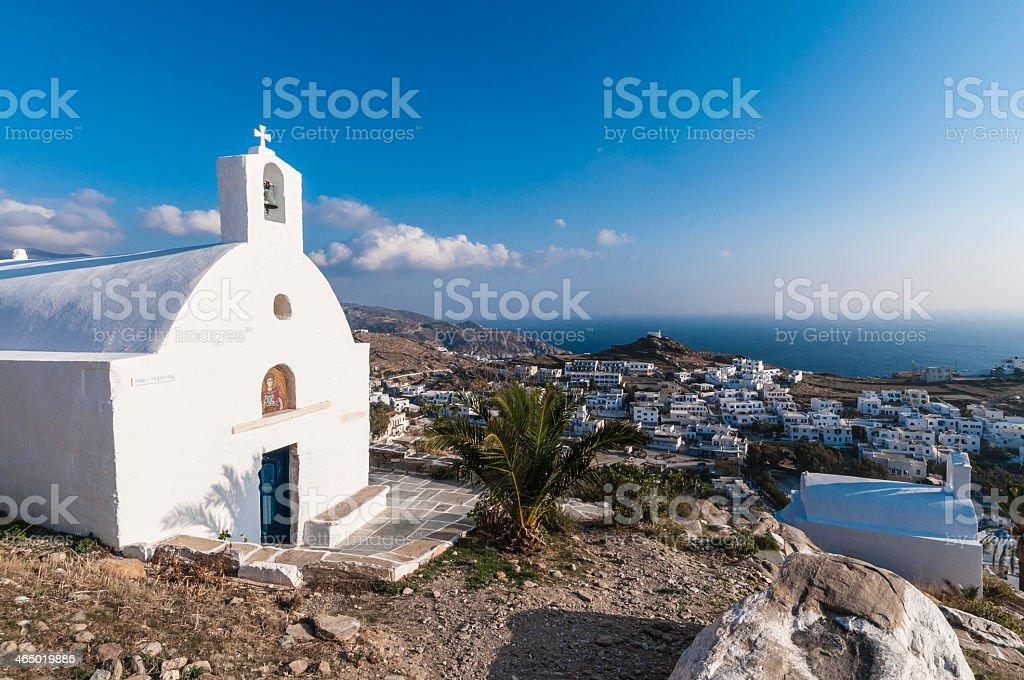 Church on Ios, Agios Georgios, Cyclades Islands, Greece stock photo