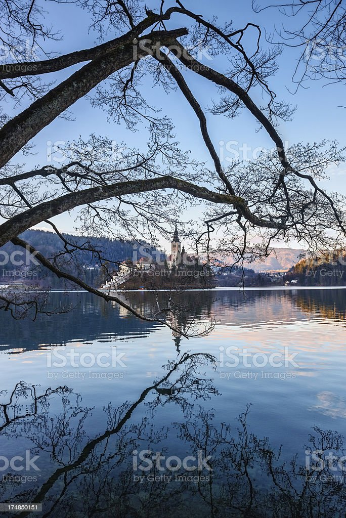 Church on island in Lake Bled, Slovenia royalty-free stock photo