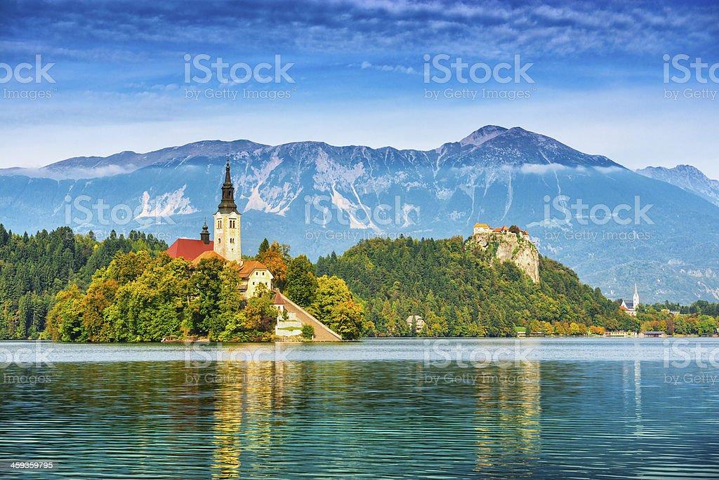 Church on island in Lake Bled, Slovenia stock photo