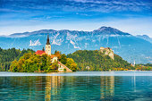 Church on island in Lake Bled, Slovenia