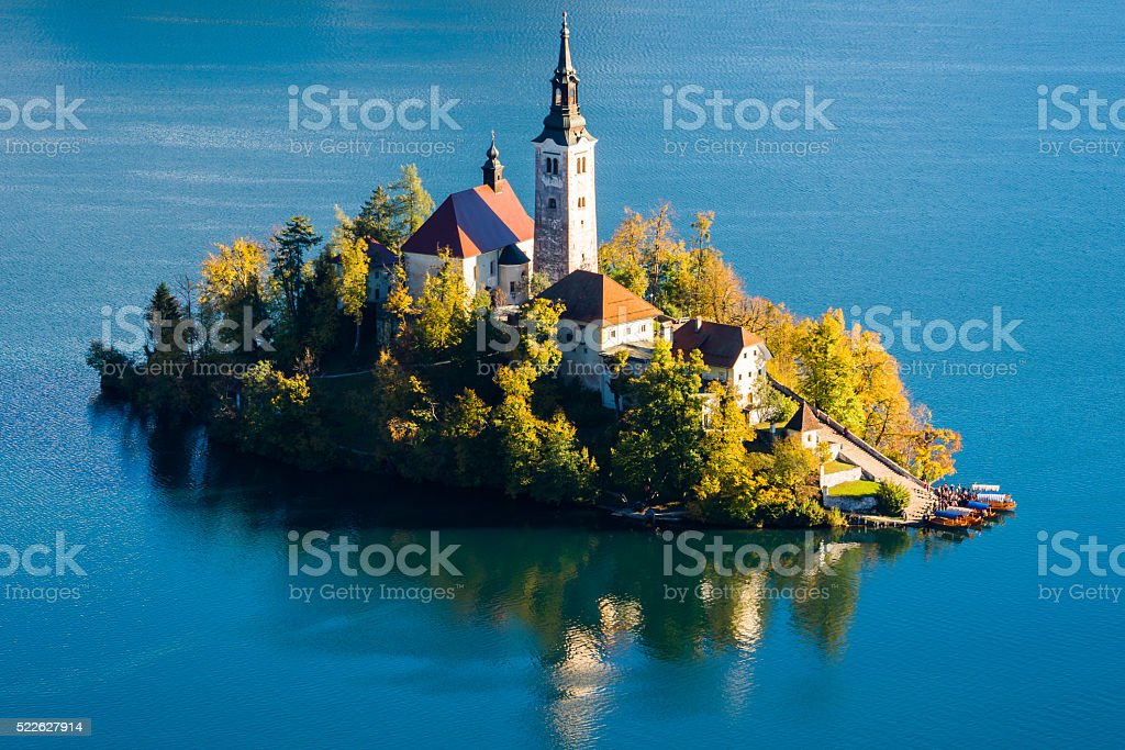Church on Island in Lake Bled, Slovenia stock photo