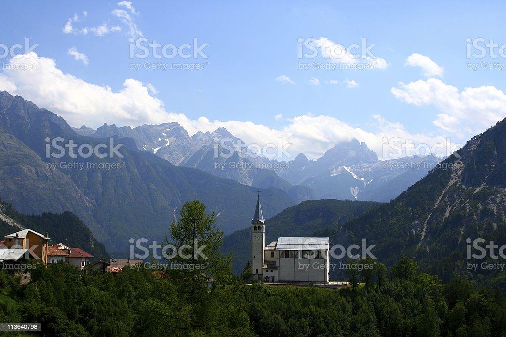 Church on Italian mountains stock photo