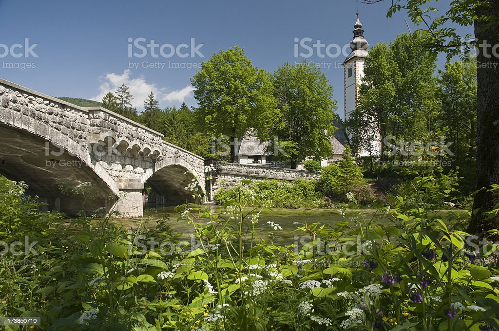Church on Lake Bohinj in Slovenia royalty-free stock photo