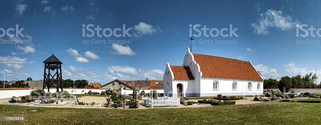 Church on Mando in the wadden sea, Denmark stock photo