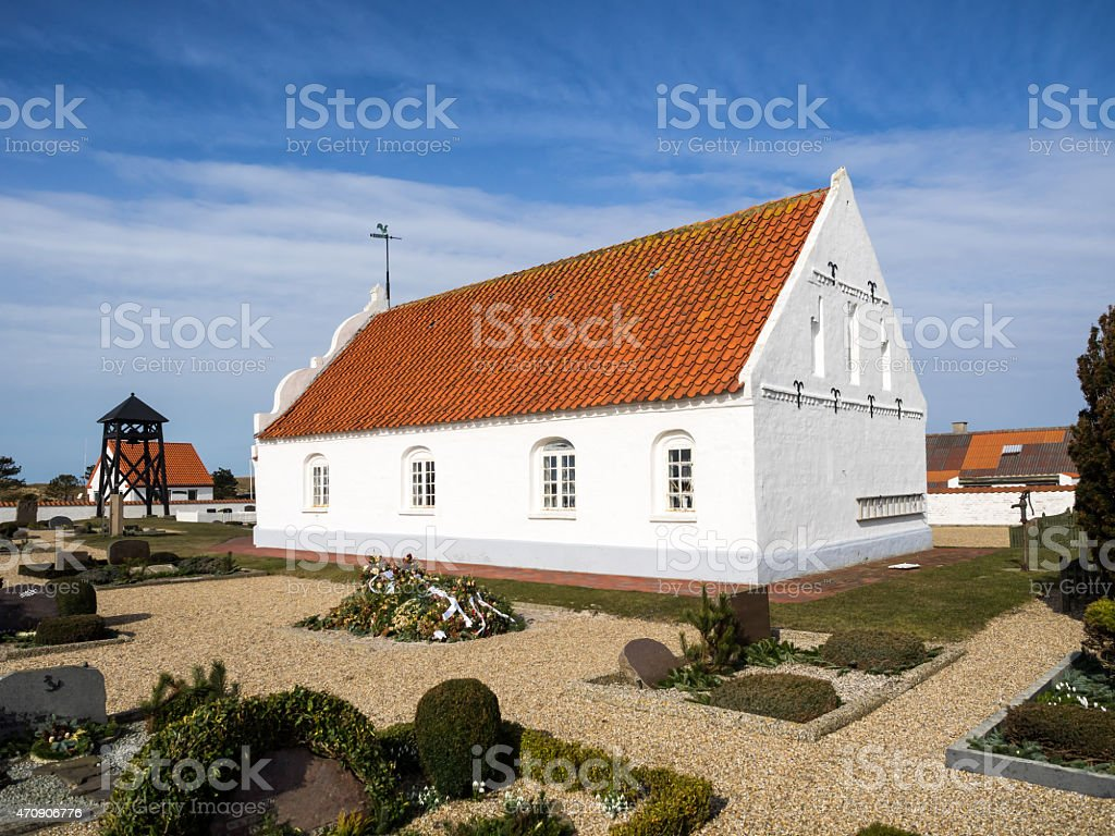 Church on Mando in the wadden sea, Denmark stock photo