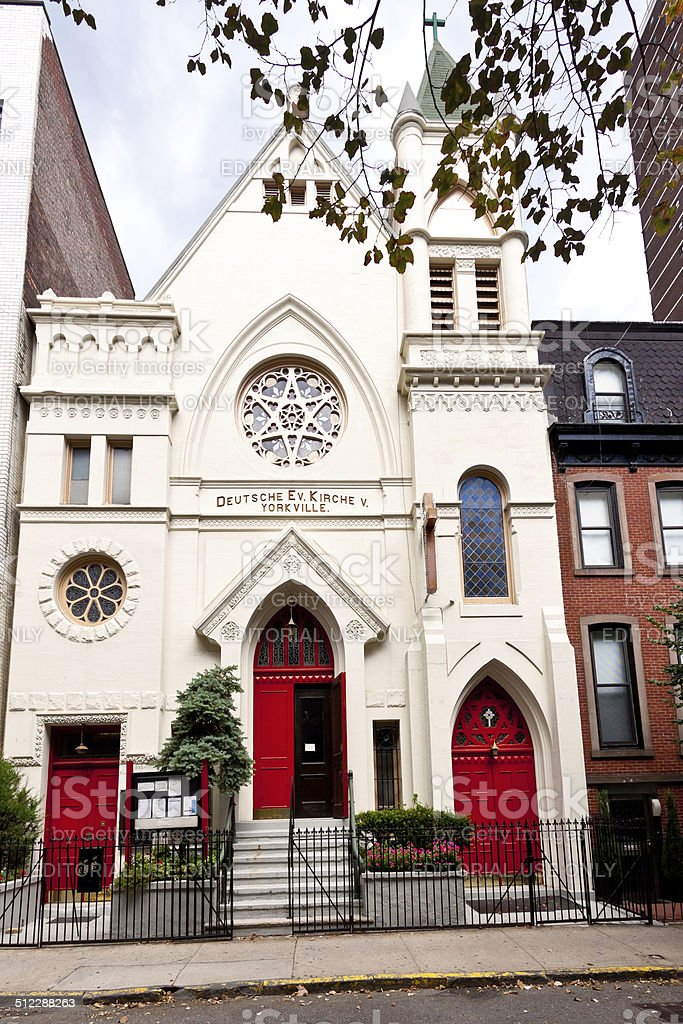 Church on Manhattan Upper East Side, New Yotk City. stock photo