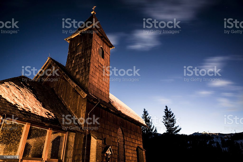 Church on mountains during the night royalty-free stock photo