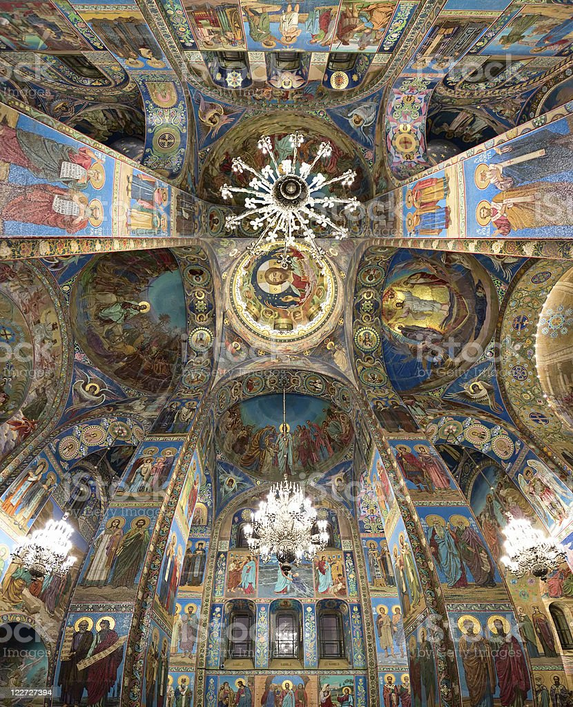 Church on Spilled Blood interior, St. Petersburg, Russia royalty-free stock photo