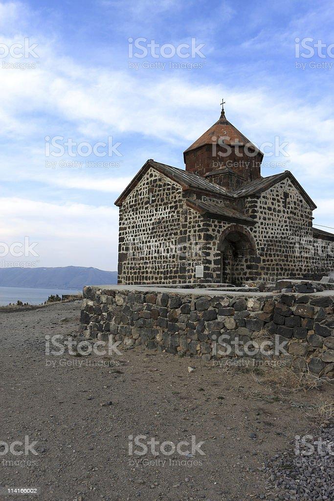Church on the lakeside Sevan stock photo