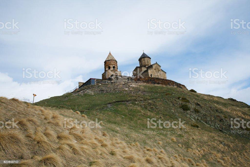Church on the mountain range stock photo
