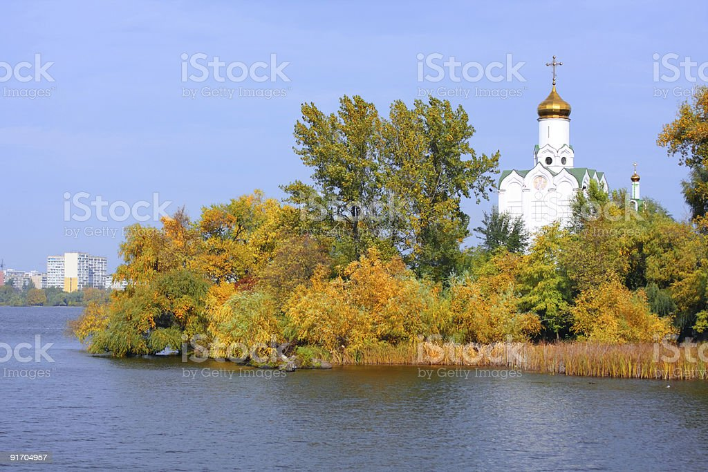 Church on the river stock photo