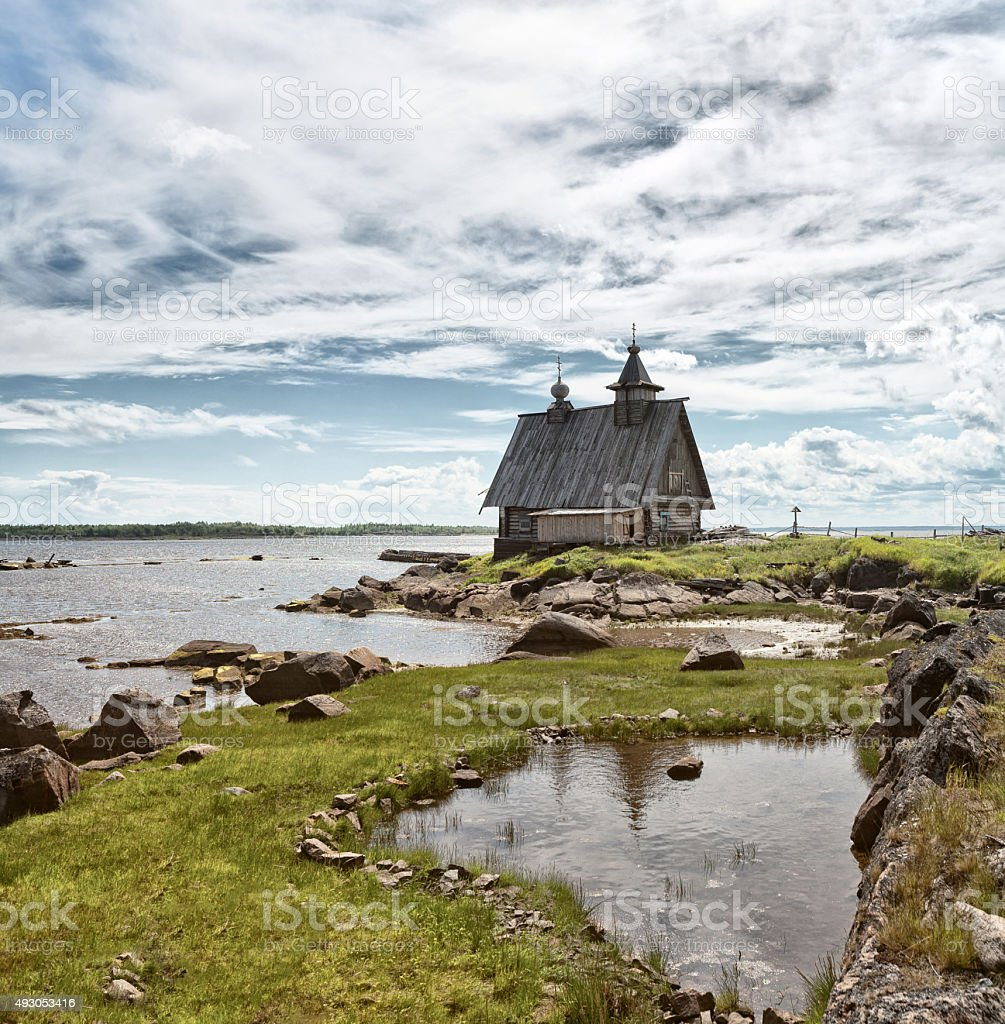 Church on the White Sea. stock photo