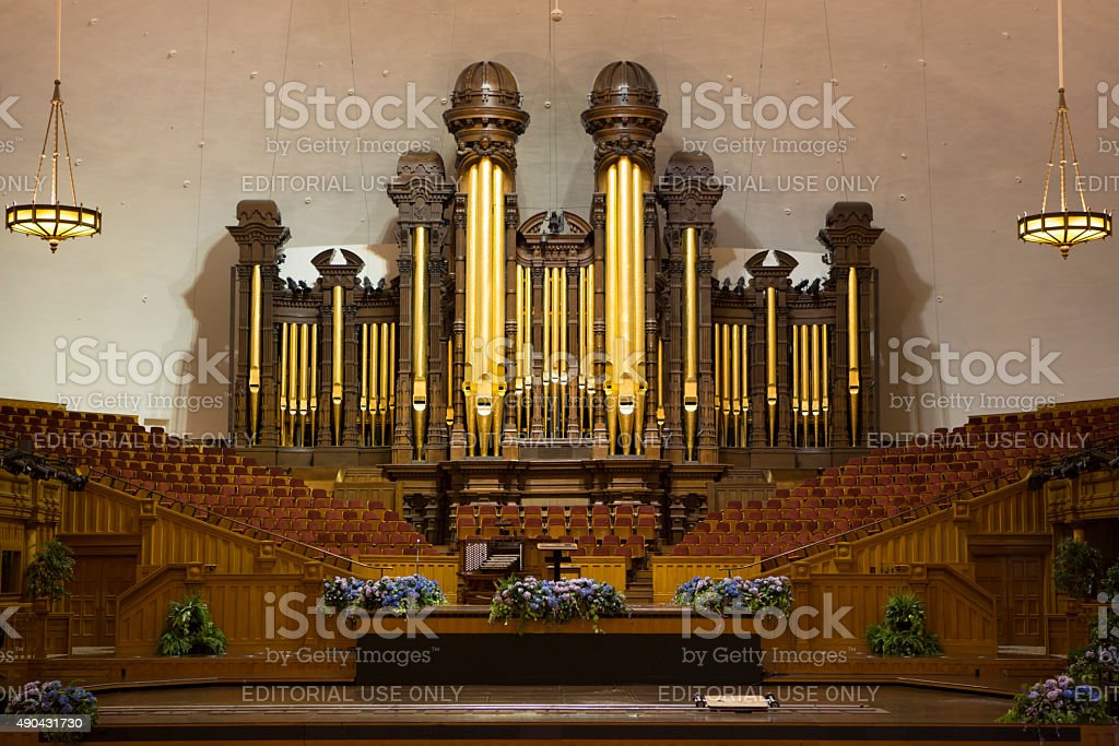 Church organ pipes and the Interior of the Mormon Tabernacle stock photo
