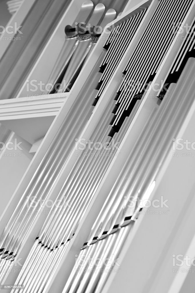 Church organ pipes stock photo
