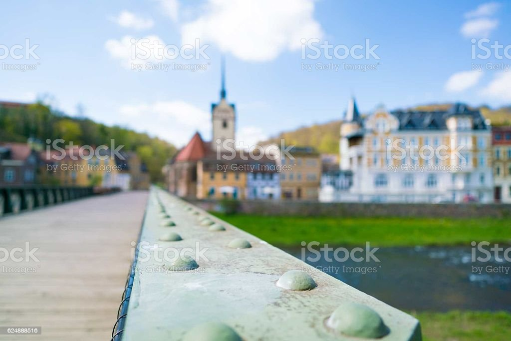 church palace and river in Germany. blurred background stock photo