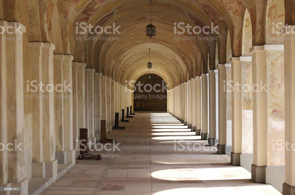 Church passageway stock photo