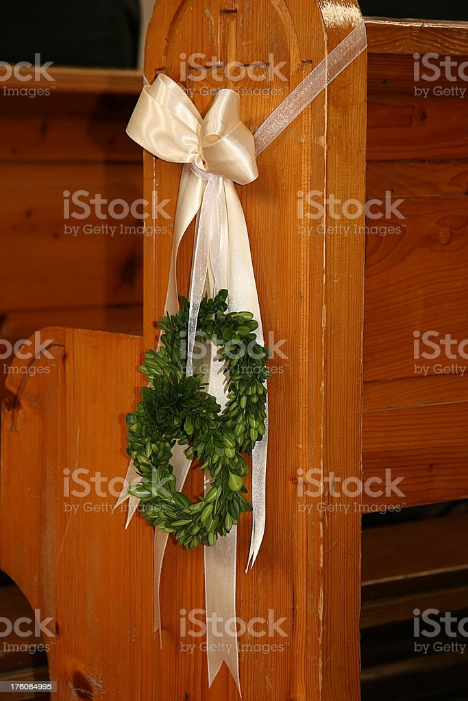 church pew decorated for wedding stock photo