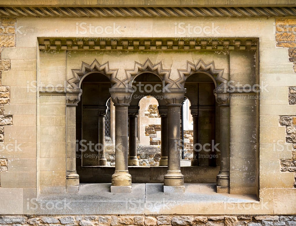 Church porch windows stock photo