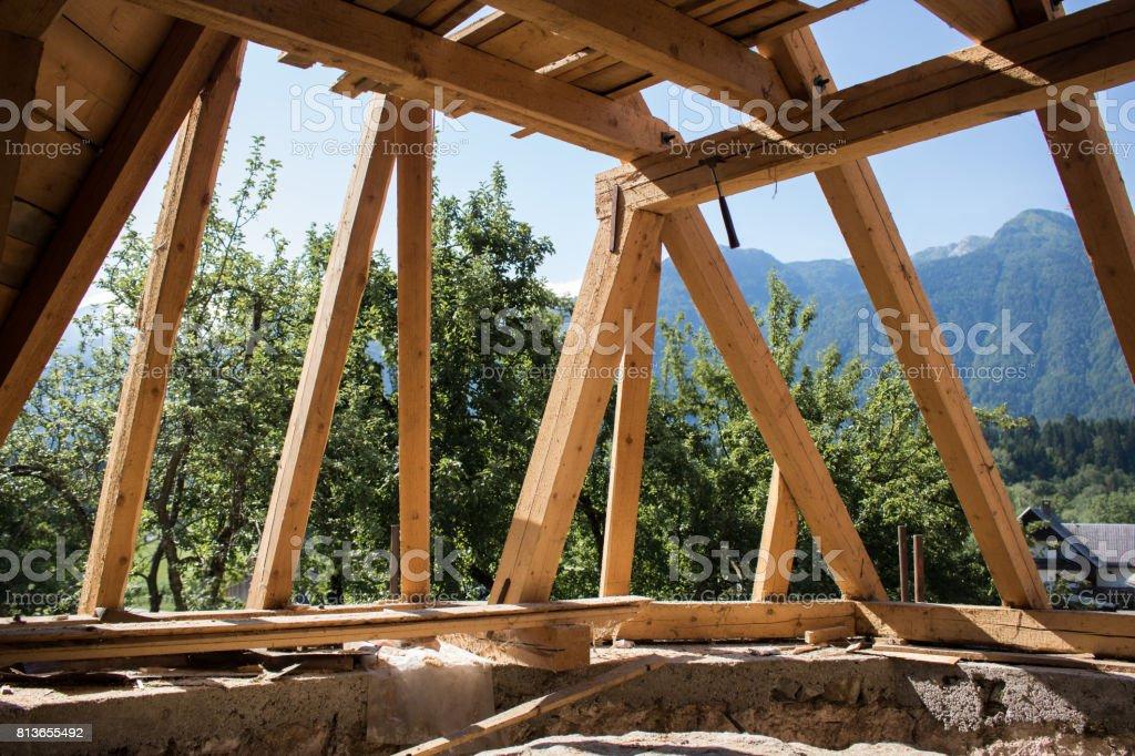 Church roof construction stock photo