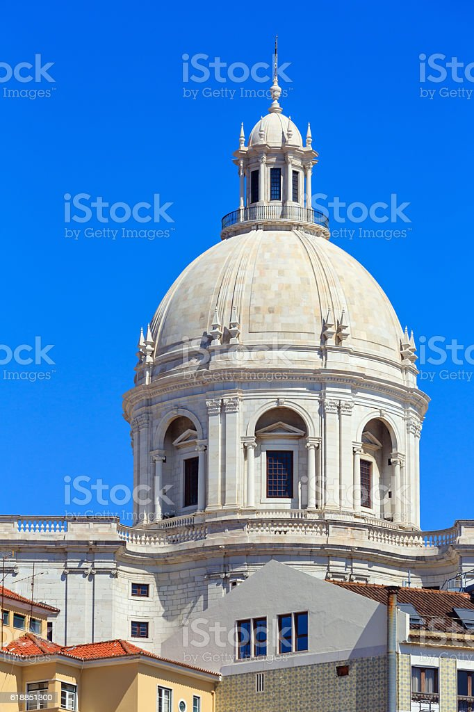 Church roof. Lisbon, Portugal. stock photo