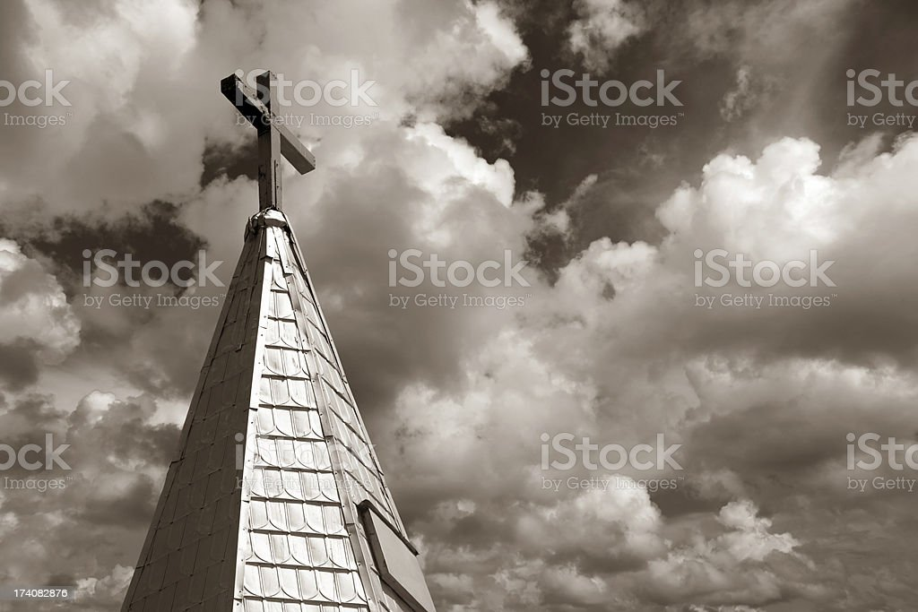 church roof top over cloudy sky royalty-free stock photo